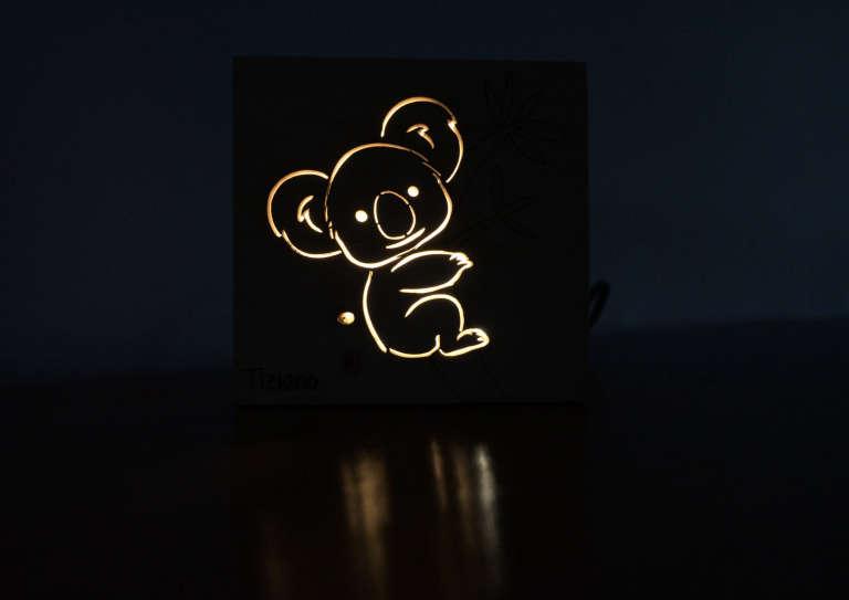 Cube koala allumé de nuit