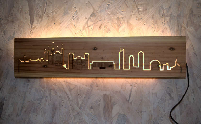 Skyline de Lyon allumé clair